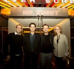 'Mr. Robot' editor Franklin Peterson, composer Mac Quayle, actor Christian Slater and costume designer Kim Wilcox